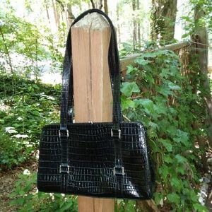 Etienne Aigner Black Embossed Leather Bag